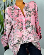 Long Sleeve Casual Tops Floral Printed Loose Blouse