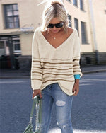 Plus Size Stripes Knitted Women 2019 Fall Sweaters