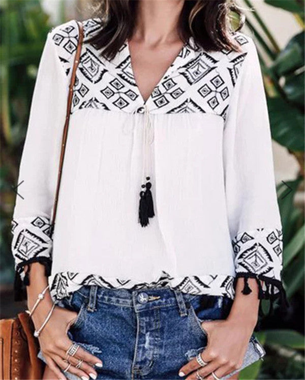 Long Sleeve Bohemian Casual Daily Summer Holiday Shift Tops