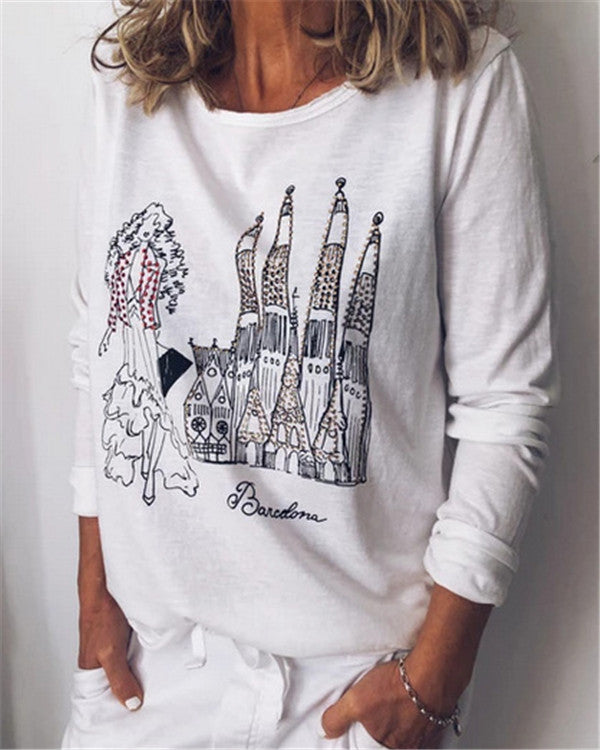 Long Sleeve Printed Fall New Casual Lady Daily Shift Tops