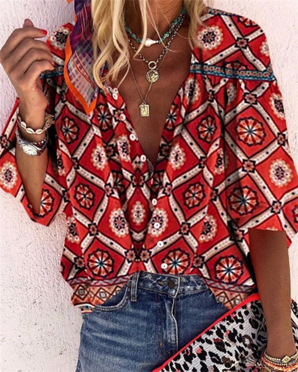 Printed Folks Fashion Casual Daily Women Blouse