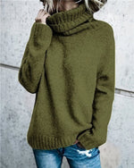 Women's Fall Newest  High Neck Loose Solid Daily Pullover Sweater