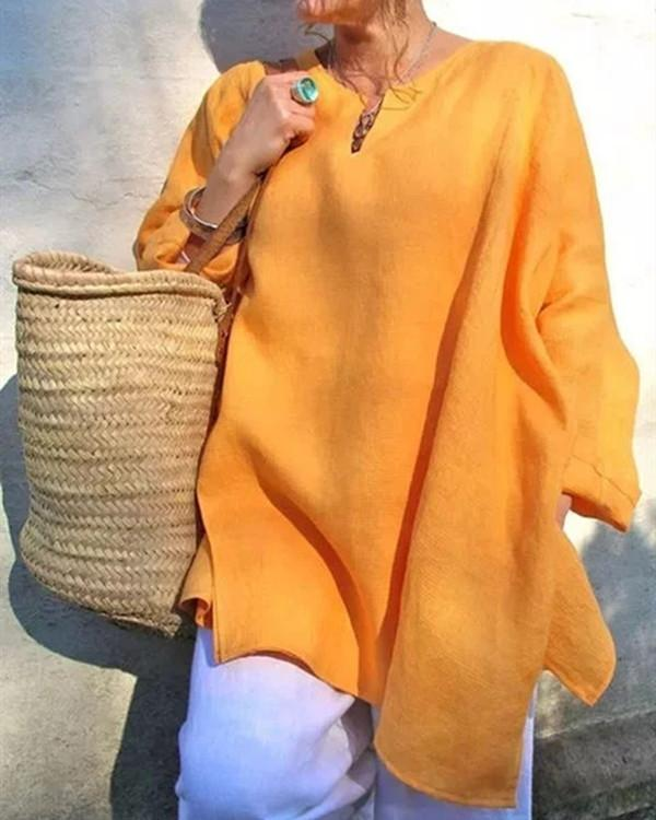 Casual Long Sleeve Linen Plus Size V-Neck Blouses