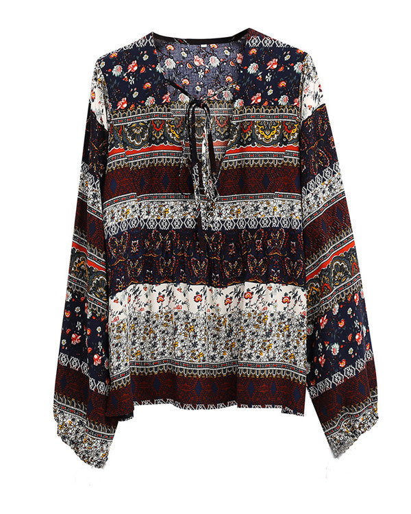 Bohemian Women Summer V Neck Holiday Daily Blouse