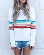 Rainbow Stripe Longs Loose Casual Holiday Daily Blouse