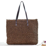 Women Handmade Straw Casual Zipper Shoulder Bags