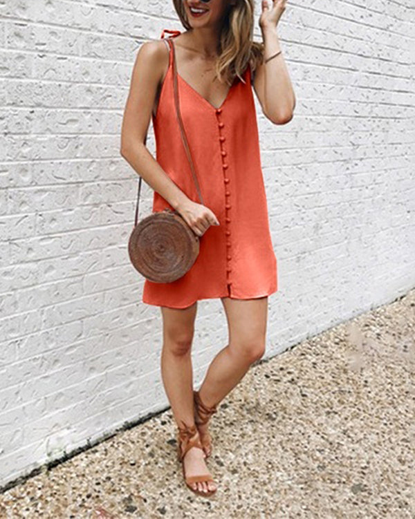 Solid Casual Summer Sleeveless Party Dresses
