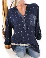 Plus Size Star Printed Fashion Blouse Casual Loose Tops