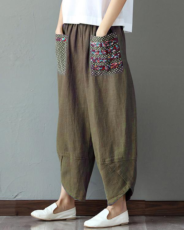Women Casual  Printed Loose Elastic Band Wide Leg Pants