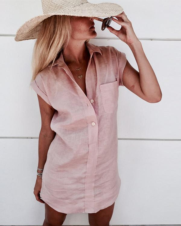 Patch Pocket Short Sleeve Solid Cotton And Linen Women's Casual Shirt