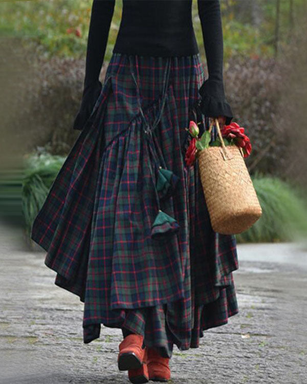 Cotton Casual Plaid Vintage Skirt