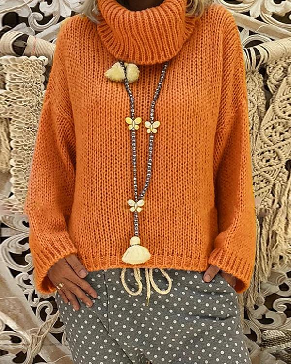 Acrylic Turtleneck Plain Chunky knit Sweater