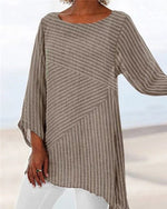 Crew Neck Striped Fashion Holiday Casual Lady Daily Shift Tops