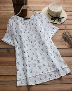 Asymmetrical Short Sleeve Cat Print O-neck Casual T-shirts