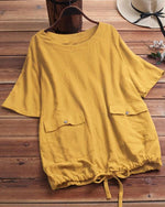 Casual Solid Short Sleeve Crew Neck Pockets Plus Size Blouses Tops