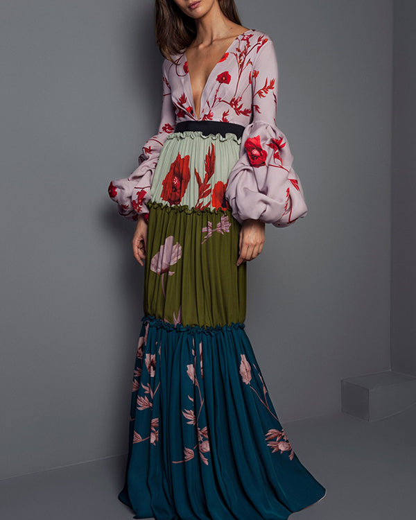 Woman Puff Sleeve Dress Floral Printed Ruffle Color Patchwork Pleated Maxi Dress
