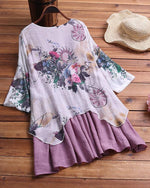 Vintage Patchwork Print Fake Two-Piece Half Sleeve Plus Size Blouses Tops