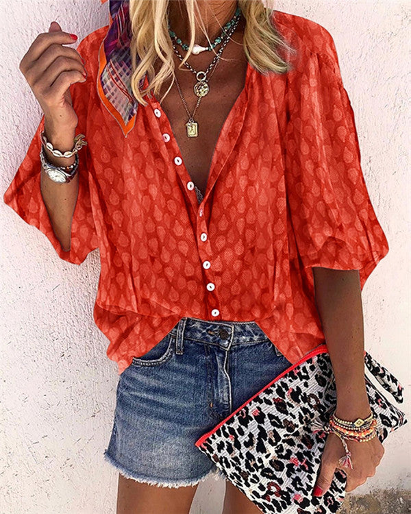 Bohemian Holiday Casual Lady Women Daily Shirt Tops