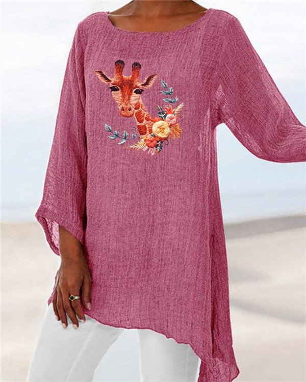 Deer Printed Plus Size Summer Women Holiday Blouse