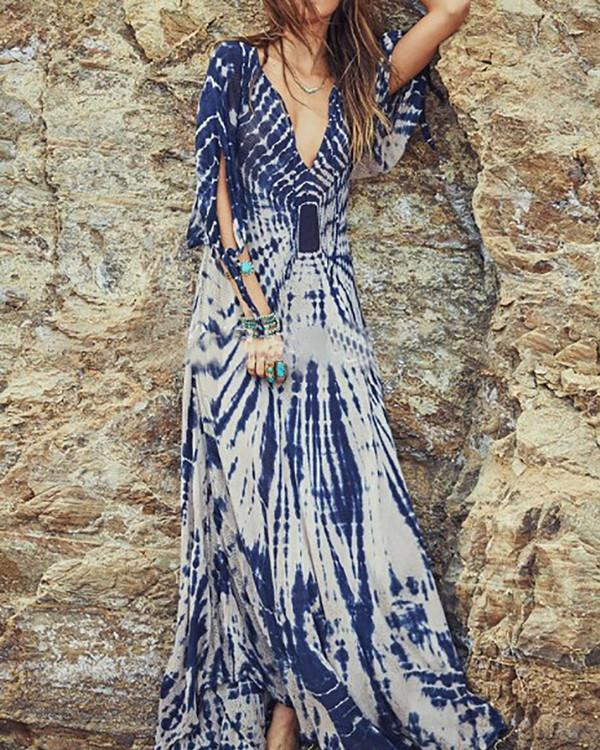Blue Abstract Balloon Sleeve Maxi Dresses
