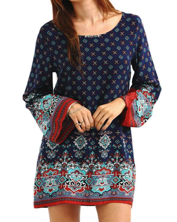 Plus Size Retro Ethnic Baroque Floral Printed Loose Mini Dress