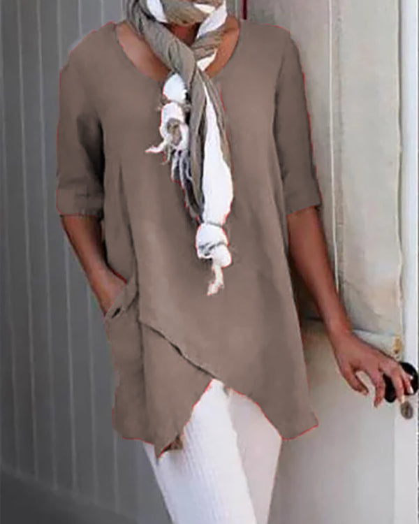 Casual Crew Neck Half Sleeve Irregular Blouses