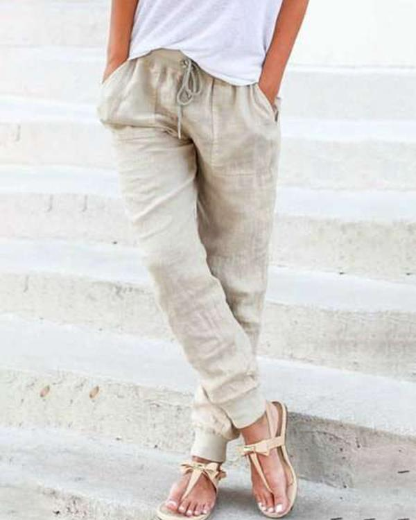 Solid Casual Pocket Elastic Waist Harem Pants