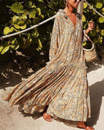 Spring Summer Casual Long Sleeve Printed Colour Elastic Maxi Dresses