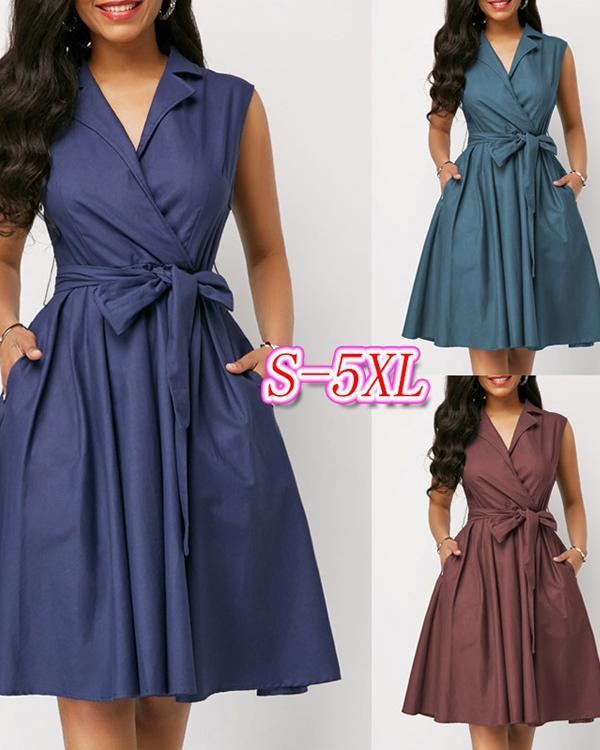 Sleeveless Solid Color Lapel Tie A-Line Dress