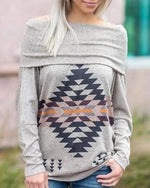 Geometric Printed Long Sleeve Sweatshirt