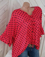 Casual 3/4 Sleeve Polka Dot Neckline Lace Up Blouse Tops
