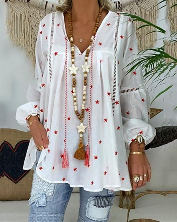 Plus Size Loose V Neck Lantern Sleeve Blouse