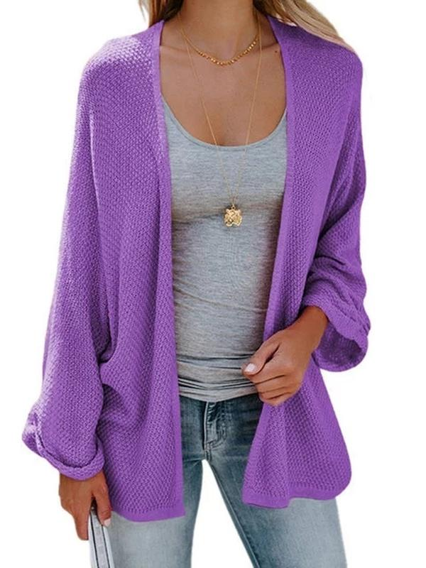 Knitted Batwing Cotton-blend Plus Size Cardigan