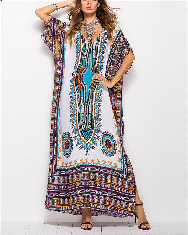 Bohemian Short Batwing Sleeve Printed Color Maxi Plus Size Dresses