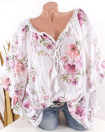 Loose Sleeve V Neck Casual Summer Women Holiday Blouse