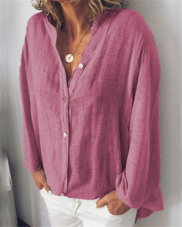 Women Solid  Casual V Neck Loose Tops