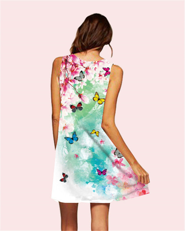 Butterfly Printed Sleeveless Beach Dress