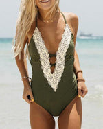 Sweet Lace Patchwork One Piece Swimsuit