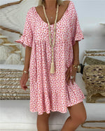 Crew Neck Short Sleeve Casual Summer Dress