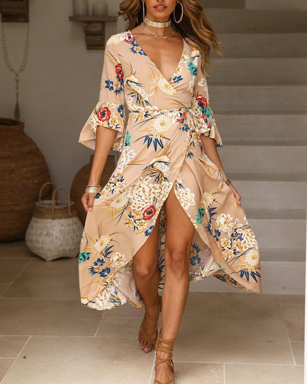 Women's Daily Floral Printed V Neck Chic Maxi Dress