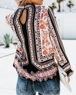 Vintage Printed Casual Long Sleeved Blouse