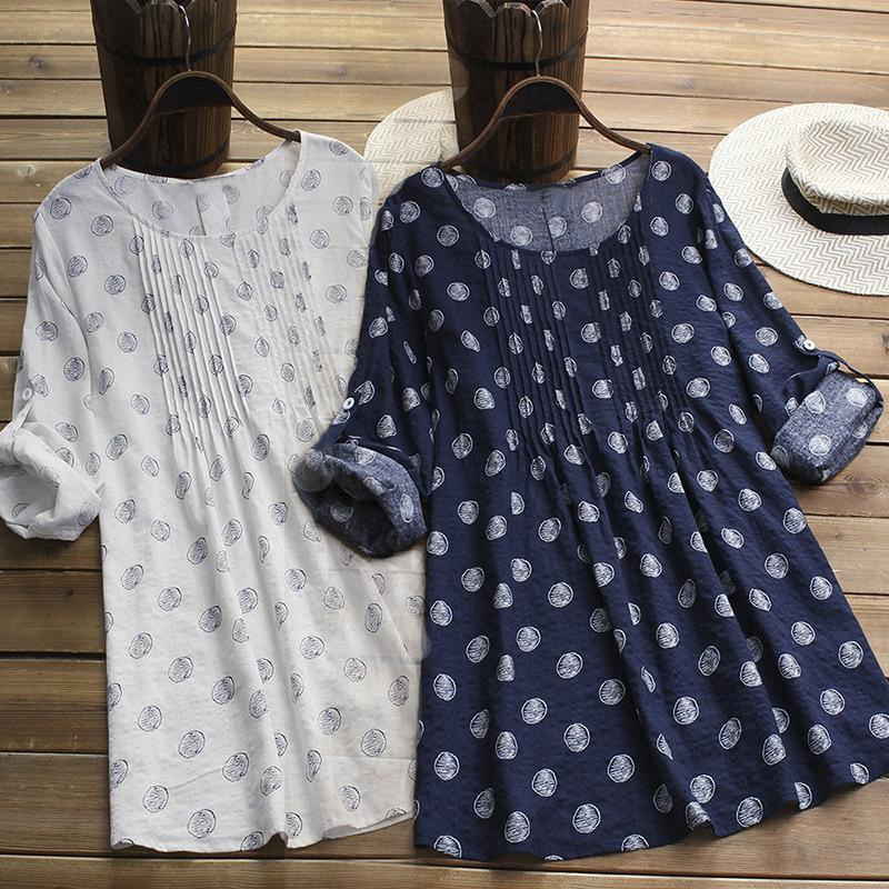 Plus Size Long Sleeve Polka Dot Printed Loose Blouse Tops
