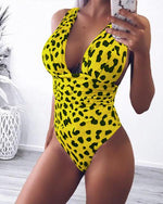 Female Deep V Collar Leopard Print Sexy Swimsuit