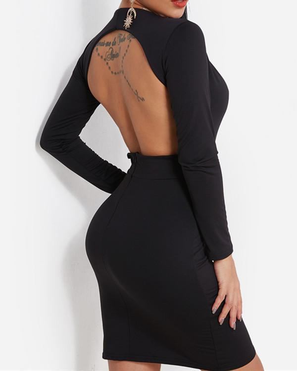 Backless Design Deep V Neck Long Sleeves Bodycon Dress