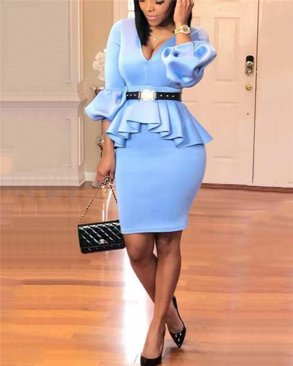 Africa V Neck  Plus Size Peplum Midi Bodycon Dress
