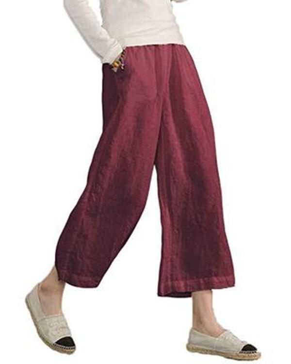 Women Solid Casual Linen Havana Nights Pants
