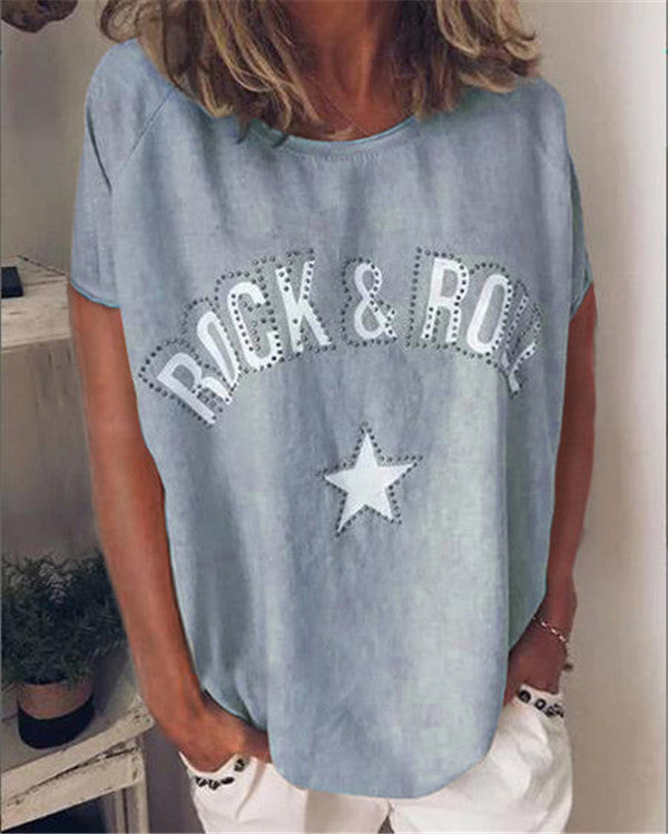 Rock&Roll Shorts Printed Holiday Casual Lady Daily Shift Tops