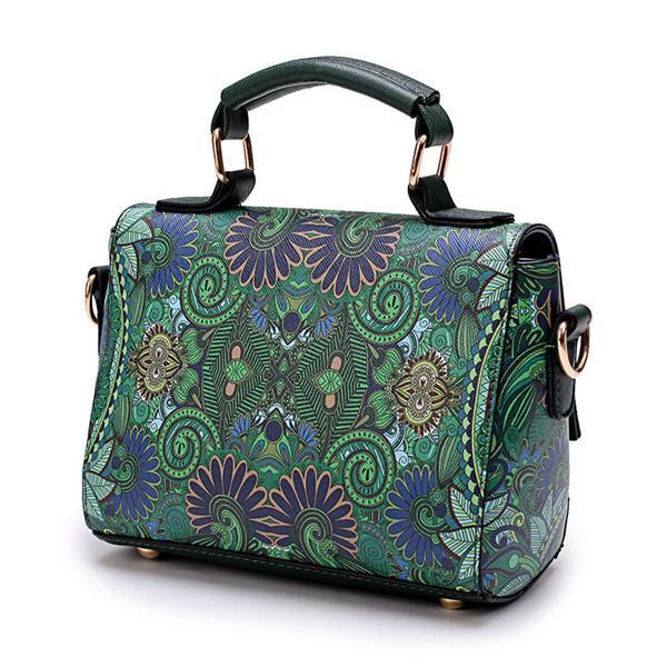Bohemian Forest Print Crossbody Bag Large Capacity Handbag