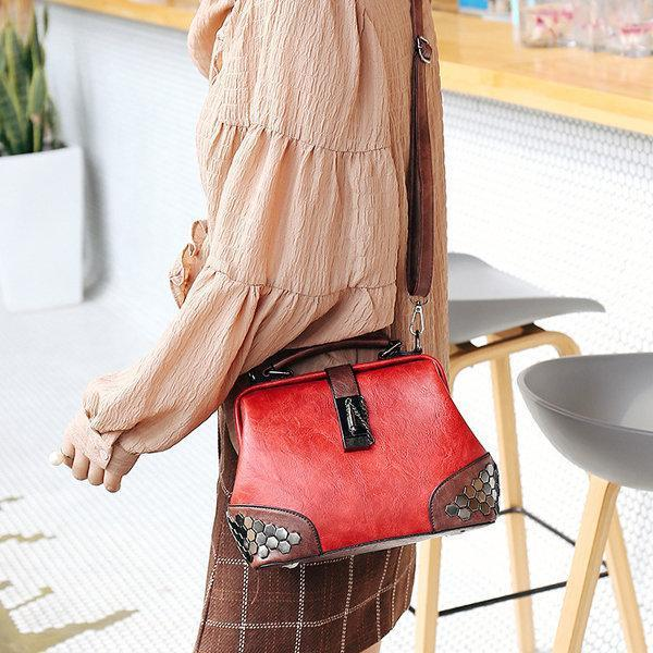 Faux Leather Vintage Sequin Bucket Crossbody Bag Handbag