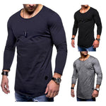Men's Soft Comfy Solid Color O-neck Long Sleeve Spring Fall Casual T-Shirt
